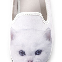Y.R.U. Lowf Kitty White Cat Print Smoking Slipper Flats