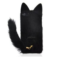 Fluffy Cat with Tail Case for iPhone 5