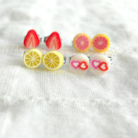 ChildrensStud Earrings Mini Fruits For by theblackstarboutique