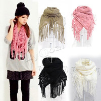 Women Long Warm Knitting Hood Cowl Warmer Winter Neck Scarf Tassel Warm Shawl
