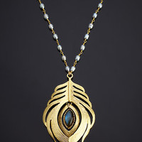ideeli | INDULGEMS Feather Pendant Necklace