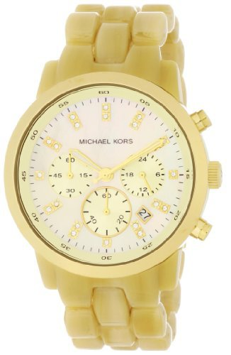 Women's Ivory Tone Plastic Link Quartz Chronograph Gold Tone Mother Of Pearl