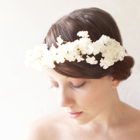 Bridal hair crown, Flower crown, White bridal accessory, Floral headpiece, Ivory - BUDS of MAY