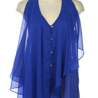 Amazon.com: G2 Chic Halter Neck Chiffon Ruffled Blouse: Clothing