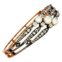 Antique Gold, Diamond and Pearl Bracelet
