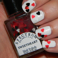 SWEETHEART  Valentine&#x27;s Day Nail Polish Glitter Heart Top Coat