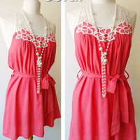 NEW Coral Crochet Embroidered Open Y Back Summer Beach Tunic Top Dress Small