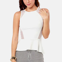 One Pep Ahead White Peplum Top