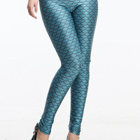 Novelty Mermaid Fish Scale Green Shimmer Stretchy Leggings Tights LB13082 S/M L