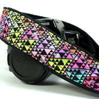 dSLR Camera Strap, Bright Tribal, Triangles, Geometric, SLR