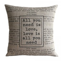 'All You Need Is Love' Pillow Cover.. on Luulla