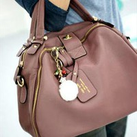 Casual Chic Dusty Pink Medium Leather Tote. Weekend Handbag from Letsglamup