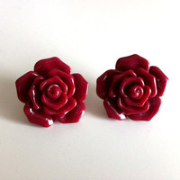 Oxblood Flower Earrings