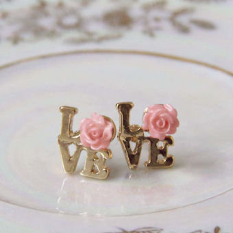 Love & Roses Earrings in Pink, Sweet Affordable Jewelry