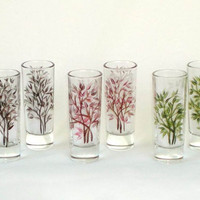 Hand Painted Shot Glasses Set of 6