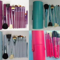 Professional Makeup Brush Set 12 pcs Kit w/ Leather Cup Holder Case many colors