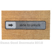 slide to unlock doormat  iconic entrance rug by DamnGoodDoormats