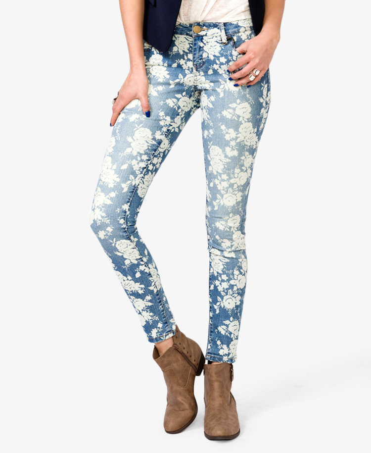 Floral Print Skinny Jeans from Forever 21