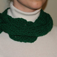 Crocheted Scarf Skinny Long in Green Women by toppytoppy