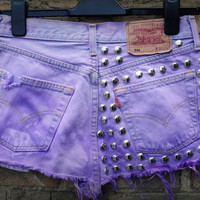 Cryptic Cult  Half dome studded lilac levi&#x27;s shorts