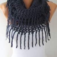 Infinity Scarf Loop Scarf Circle Scarf Fabric Knitted Lace Scarf  -  Cowl Scarf -  Long Scarf - Tube Scarf - Velvet-  Navy Blue  -fatwoman