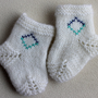 Hand Knit Baby Socks 0-3 Months / White Baby Socks / Gift for Baby Shower