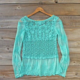 Highland Meadows Lace Top in Turquoise, Sweet Bohemian Sweaters