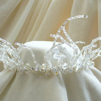 Ice Queen Crown Tiara - Delicate Beaded Icicle Winter Wedding Bridal Tiara, Fairy, Frosty, Snow