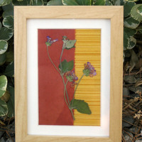 Framed FabricBacked Purple Pressed Flower by TerraCasa on Etsy