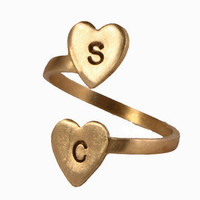Valerie Tyler Designs  Personalized Double Heart Initial Ring