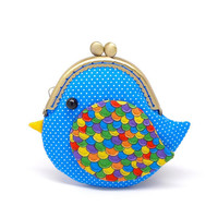 Cute ocean blue bird clutch purse by misala on Etsy