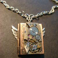 Steampunk Neo Victorian Watch Movement LOCKET Necklace with Wings (884)