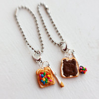 Nutella Peanut Butter Sprinkles/Hundreds and Thousands Best Friends Food Keychain Charms - Miniature Food Keychain