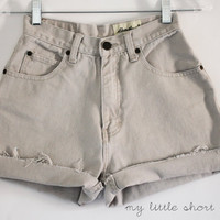 Cream / Tan High Waisted Eddie Bauer Denim Shorts (W24)