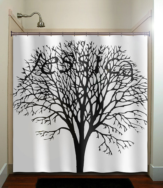 personalized any name tree shower curtain from tablishedworks on