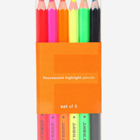 Urban Outfitters - Fluorescent Highlighter Pencil - Set Of 6