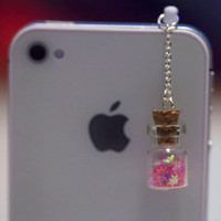 Kawaii WISHING STARS BOTTLE in 3 Colors Iphone Earphone Plug/Dust Plug - Cellphone Headphone Handmade Decorations