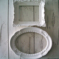 White Reclaimed Frames Shabby Chic Set by SeasideRoseCreations