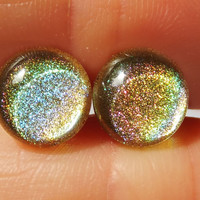 Nailpolish Earrings Holographic Gold 8mm by NailKandy on Etsy