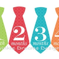 Baby Boy Monthly Onesuit Stickers Tie Necktie - Blue red orange green Onesuit sticker -