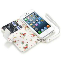 IPHONE 5 PREMIUM PU LEATHER WALLET CASE WITH FLORAL INTERIOR - WHITE:Amazon:Cell Phones & Accessories