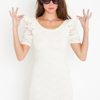 Power Puff Lace Dress - Cream in Clothes Dresses at Nasty Gal