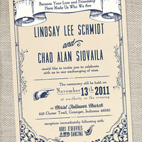 Vintage Wedding invitation by lindsayleedesign
