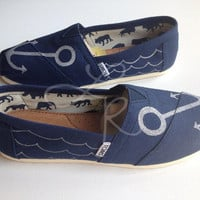 anchors -hand drawn on TOMS shoes-made to order