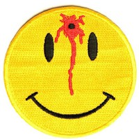 "Embroidered Iron On Patch - Shot Smiley Face 3"" Patch"