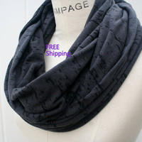 Dark Black Charcoal Infinity Scarf FREE SHIPPING Scarfs Women Scarves Circle Loop Scarf - By PIYOYO