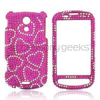 Samsung Epic 4G Bling Hard Case - Hot Pink/Silver Hearts