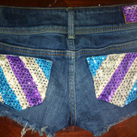 Low rise diagonal sparkle shorts