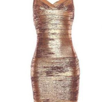Gold Cocktail Dress - Bqueen Thin Strap Woodgrain Foil