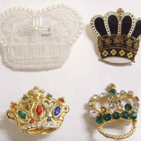 1960S VINTAGE 4 CROWN PIN BROOCH EARCLIP LOT AS IS 43627 | eBay